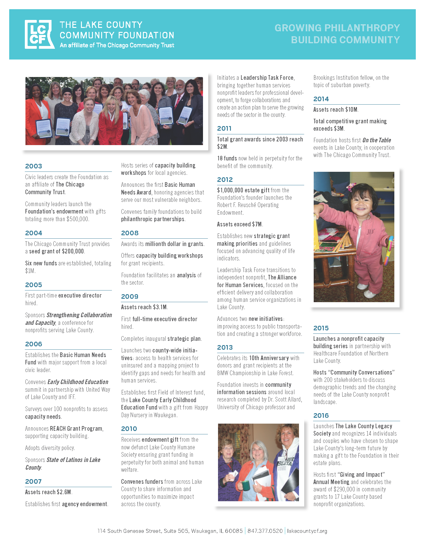 Lake County Community Foundation History from 2003 to 2016